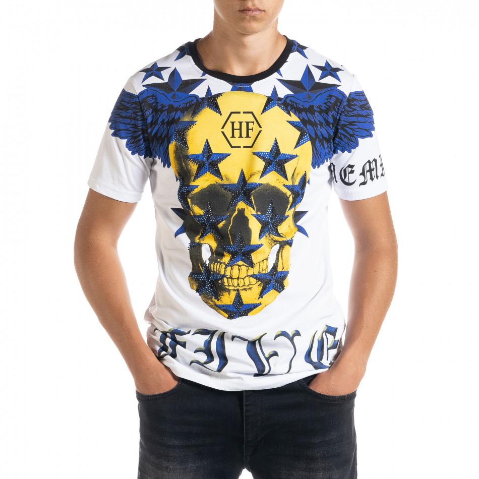 Ανδρική λευκή κοντομάνικη μπλούζα Flex Style iv080520-84