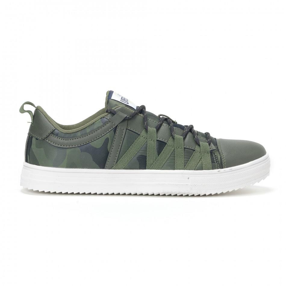Ανδρικά πράσινα sneakers παραλλαγής με κορδόνια it160318-6