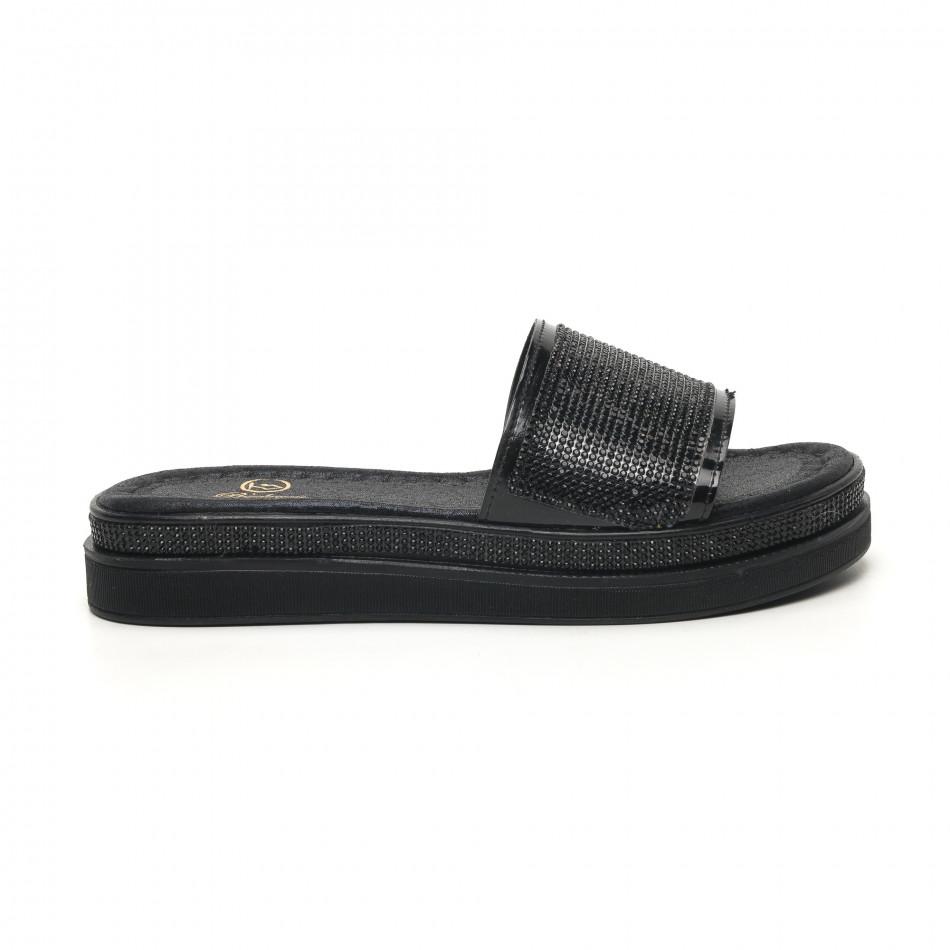 Γυναικείες μαύρες παντόφλες Bodrum tr180320-1