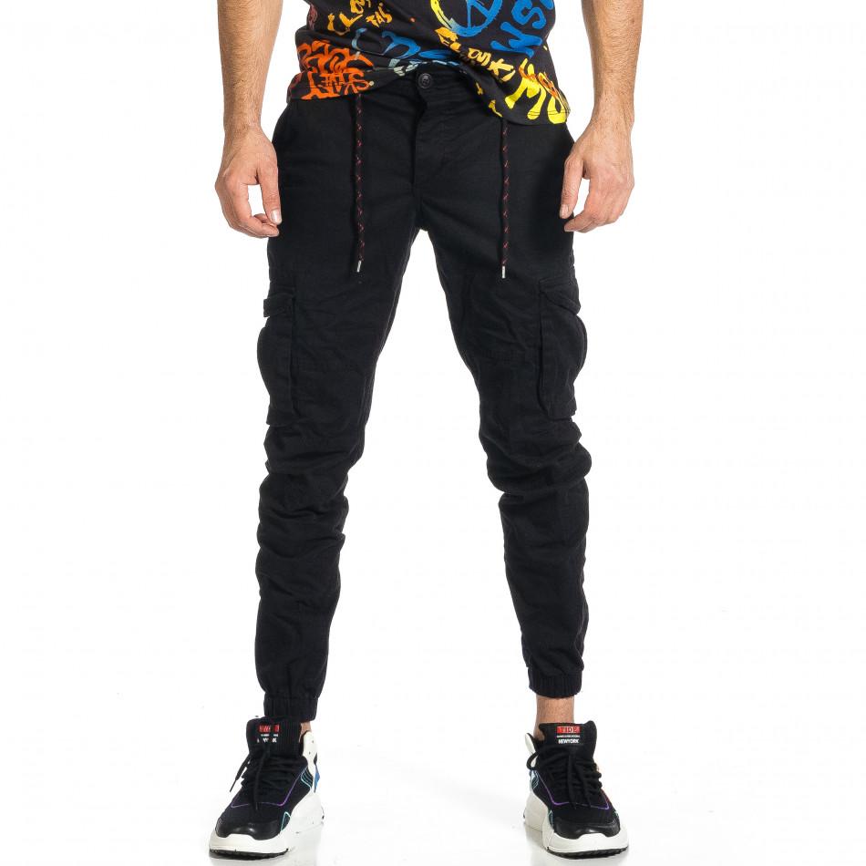 Ανδρικό μαύρο παντελόνι cargo Blackzi tr270421-8
