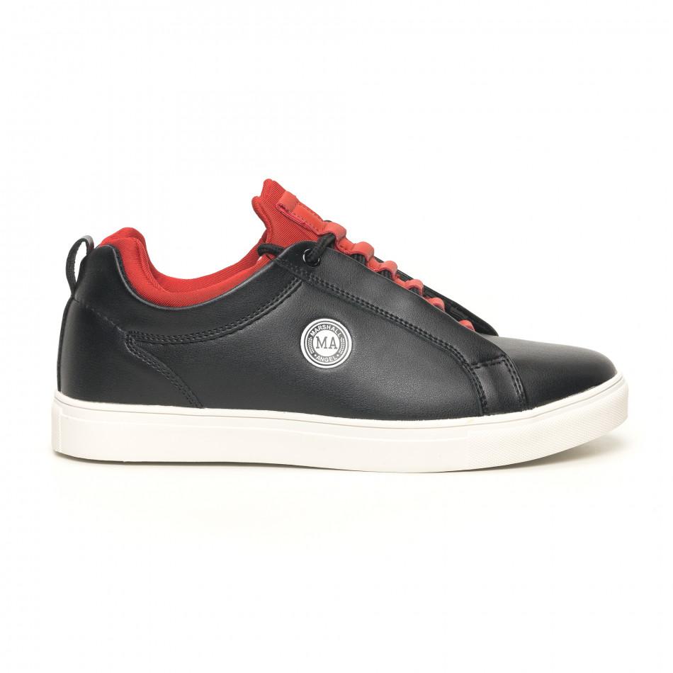 Ανδρικά μαύρα sneakers με κόκκινη λεπτομέρεια it051219-5