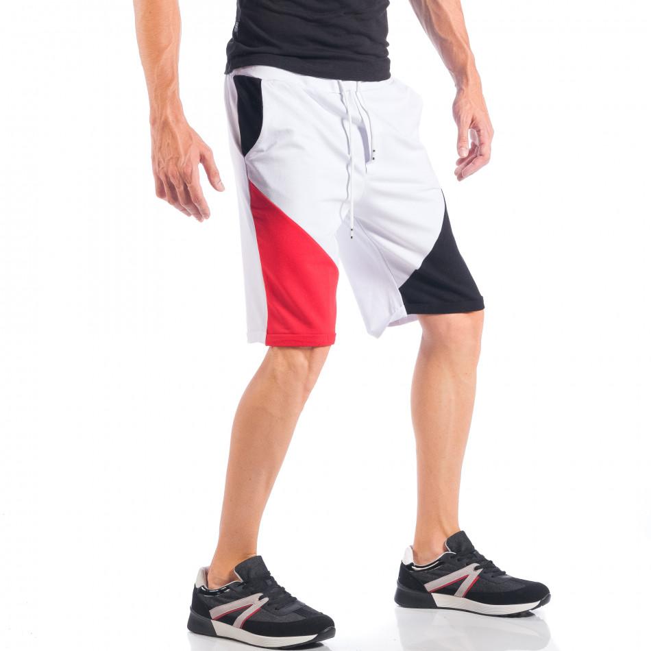 Ανδρικό λευκό σορτς με κόκκινες και μαύρες λεπτομέρειες it050618-41