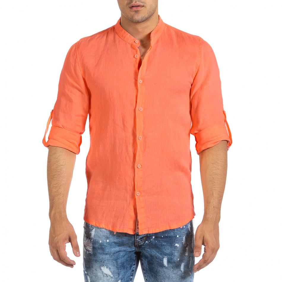 Ανδρικό πορτοκαλί λινό πουκάμισο Duca Fashion it240621-32