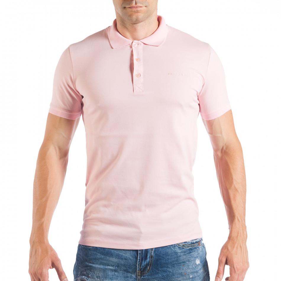 Ανδρική κοντομάνικη πόλο σε απαλό ροζ χρώμα tsf250518-35