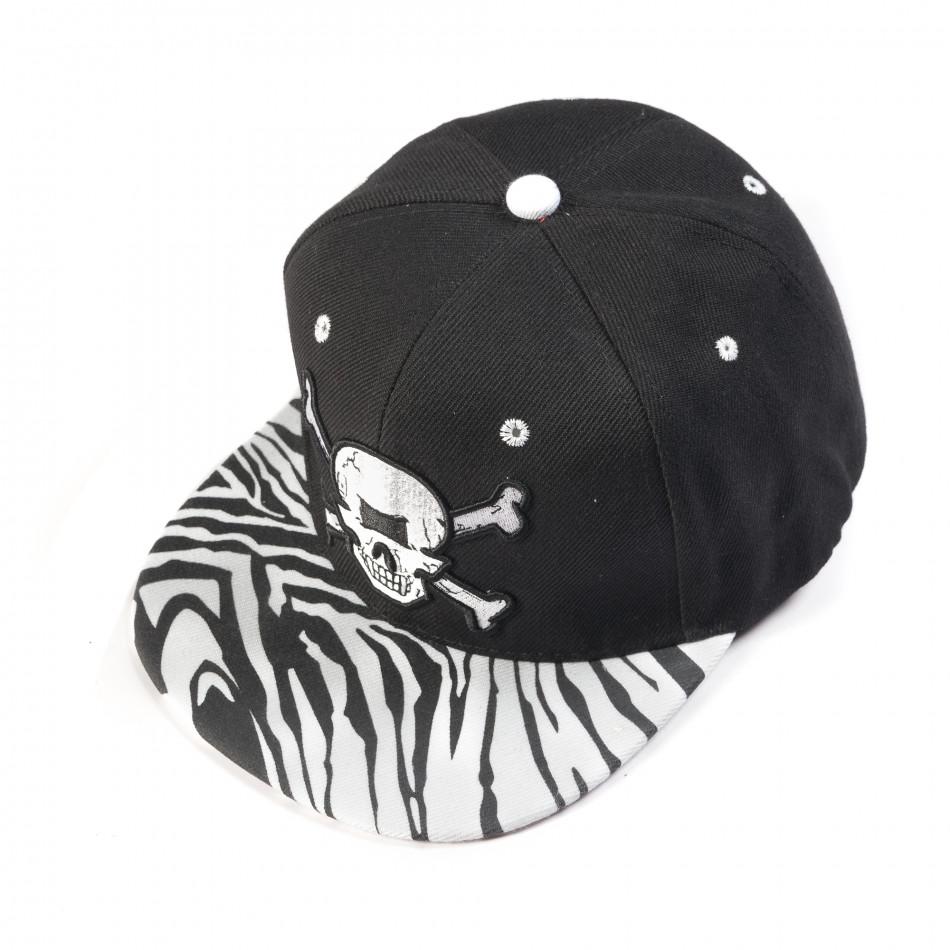 Ανδρικό μαύρο καπέλο με νεκροκεφαλή  it050618-73