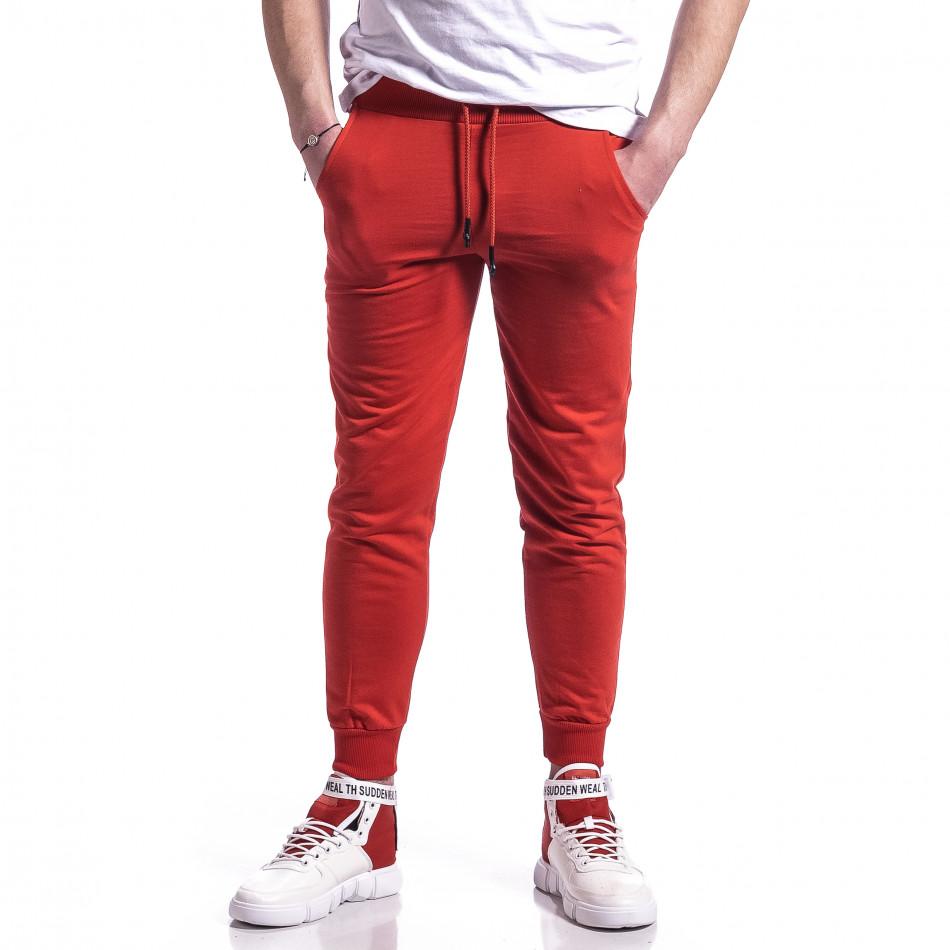 Ανδρική κόκκινη φόρμα βαμβάκι Basic it270221-18