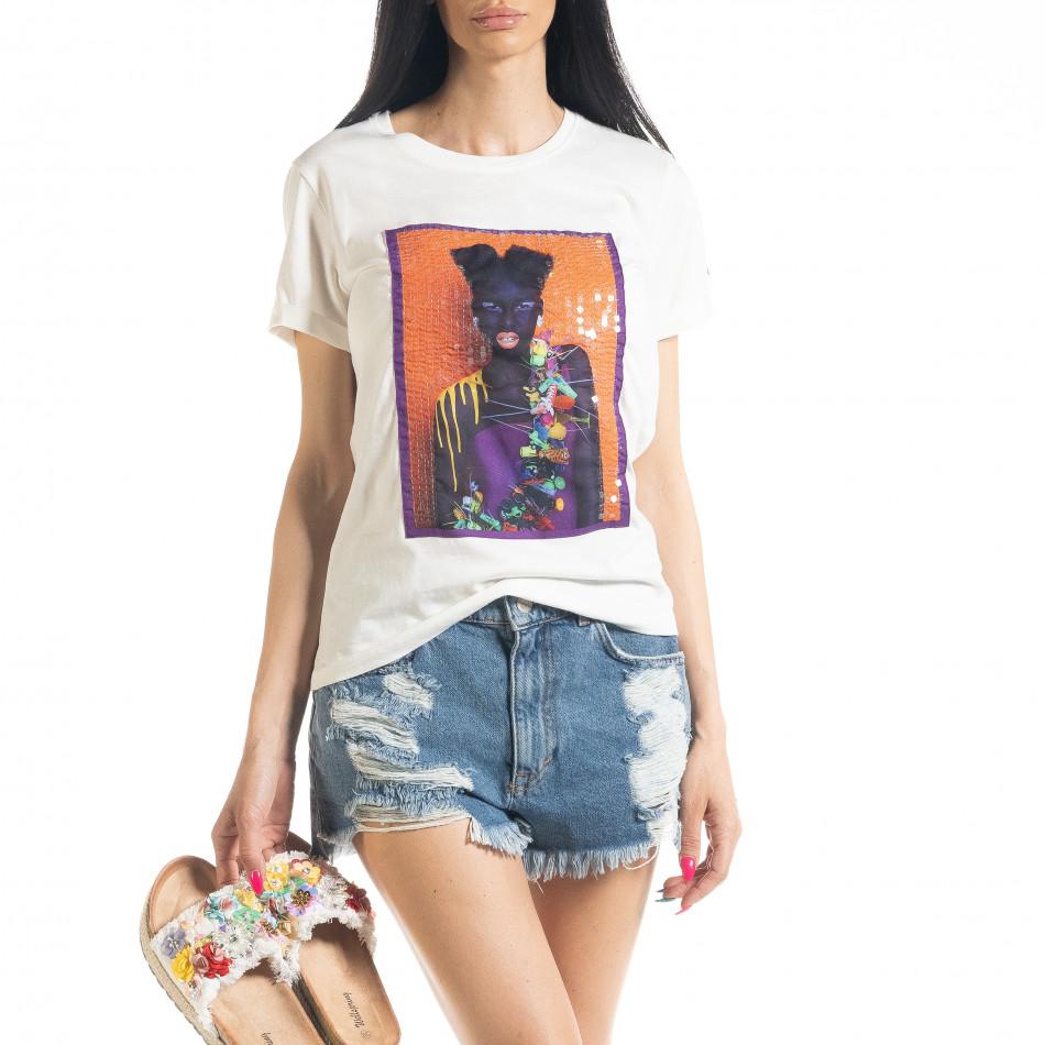 Γυναικεία λευκή κοντομάνικη μπλούζα με απλικέ il080620-6