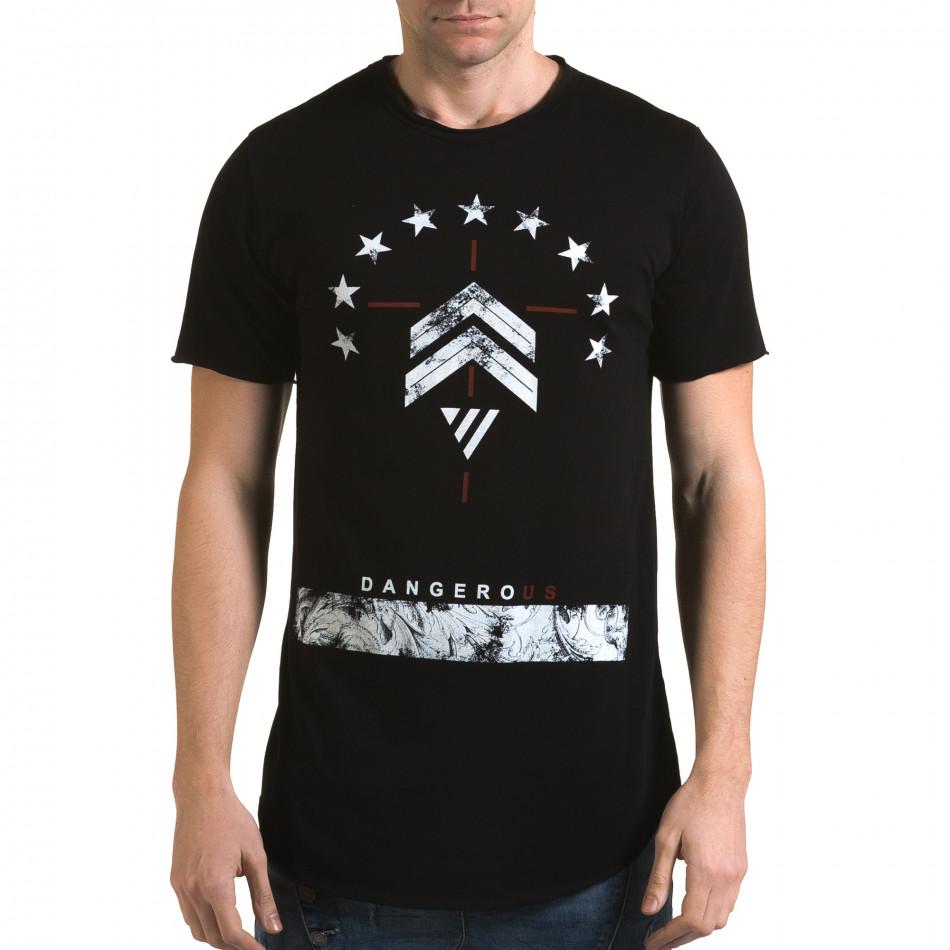 Ανδρική μαύρη κοντομάνικη μπλούζα Man it090216-71