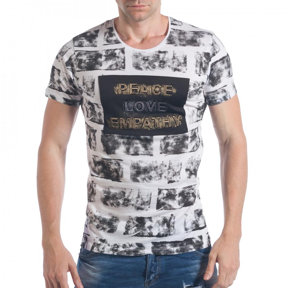 a6be055bb8a2 Ανδρική λευκή κοντομάνικη μπλούζα Lagos tsf020517-8 - Fashionmix.gr