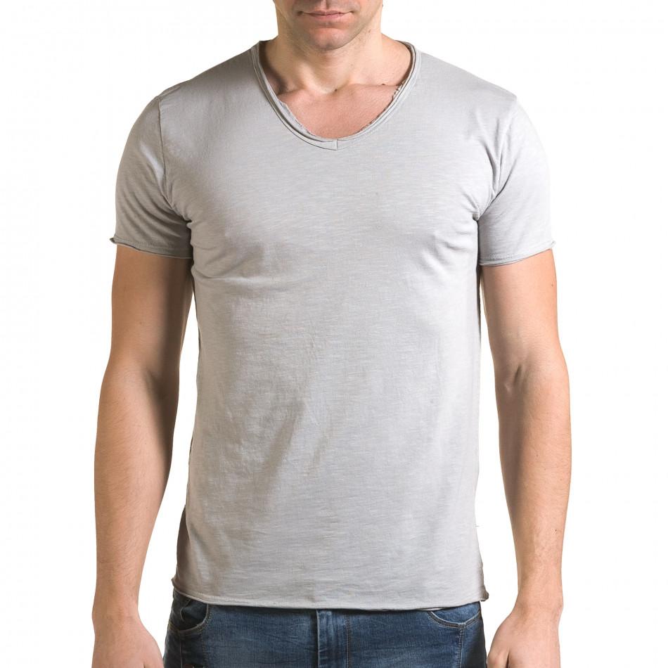 Ανδρική γκρι κοντομάνικη μπλούζα FM it090216-77