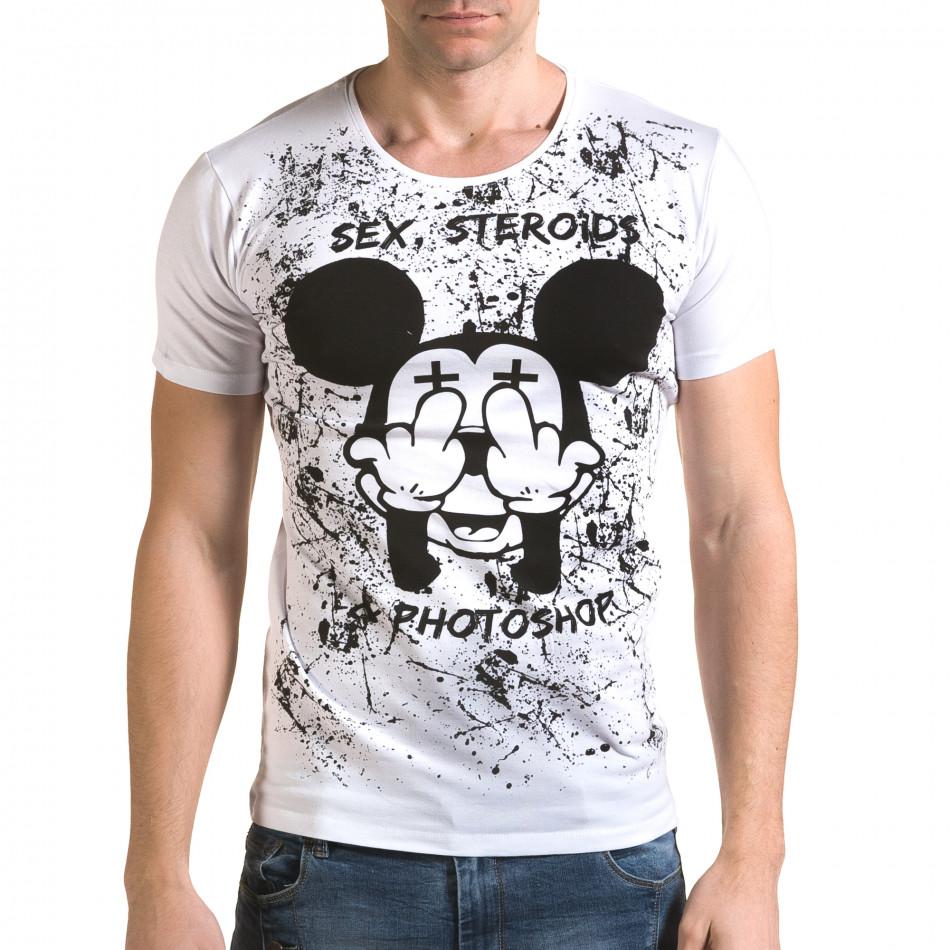 Ανδρική λευκή κοντομάνικη μπλούζα Lagos il120216-13