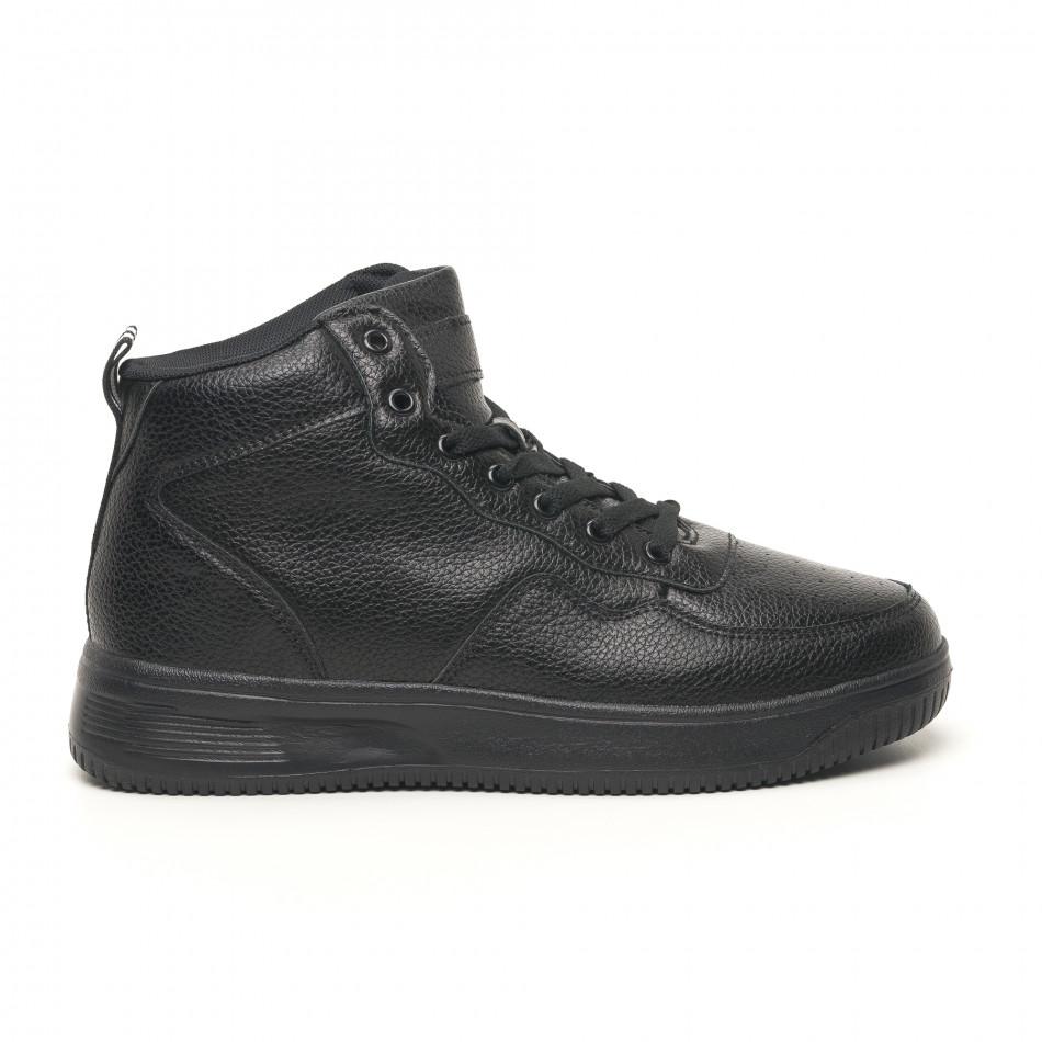 Ανδρικά ψηλά μαύρα sneakers με Shagreen design it251019-16