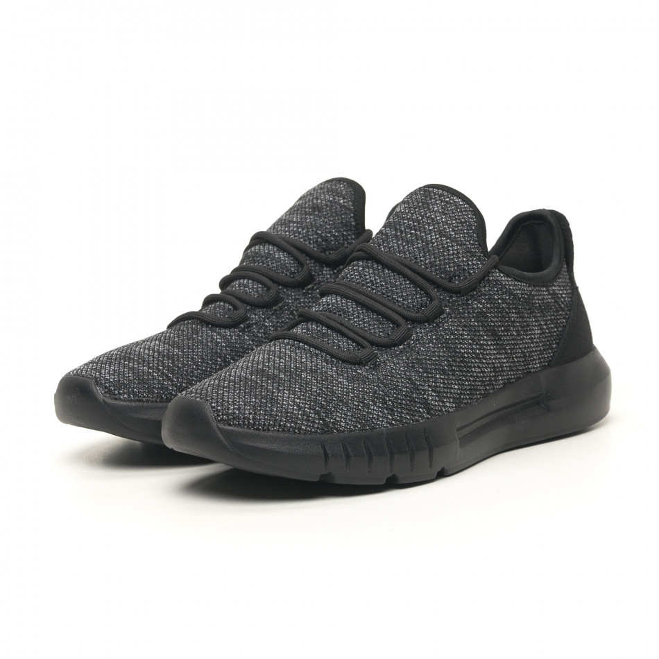 Ανδρικά μαύρα μελάνζ αθλητικά παπούτσια ελαφρύ μοντέλο it041119-6