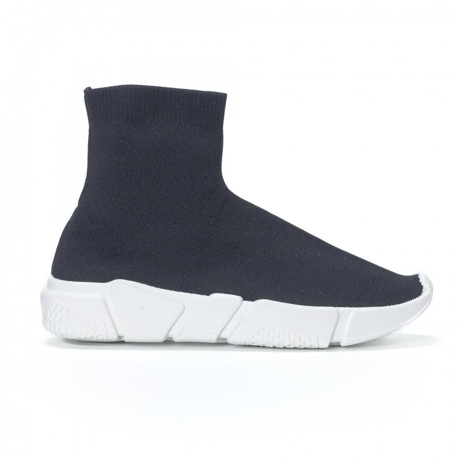 Ανδρικά μαύρα αθλητικά παπούτσια slip-on με λευκή σόλα it240418-29