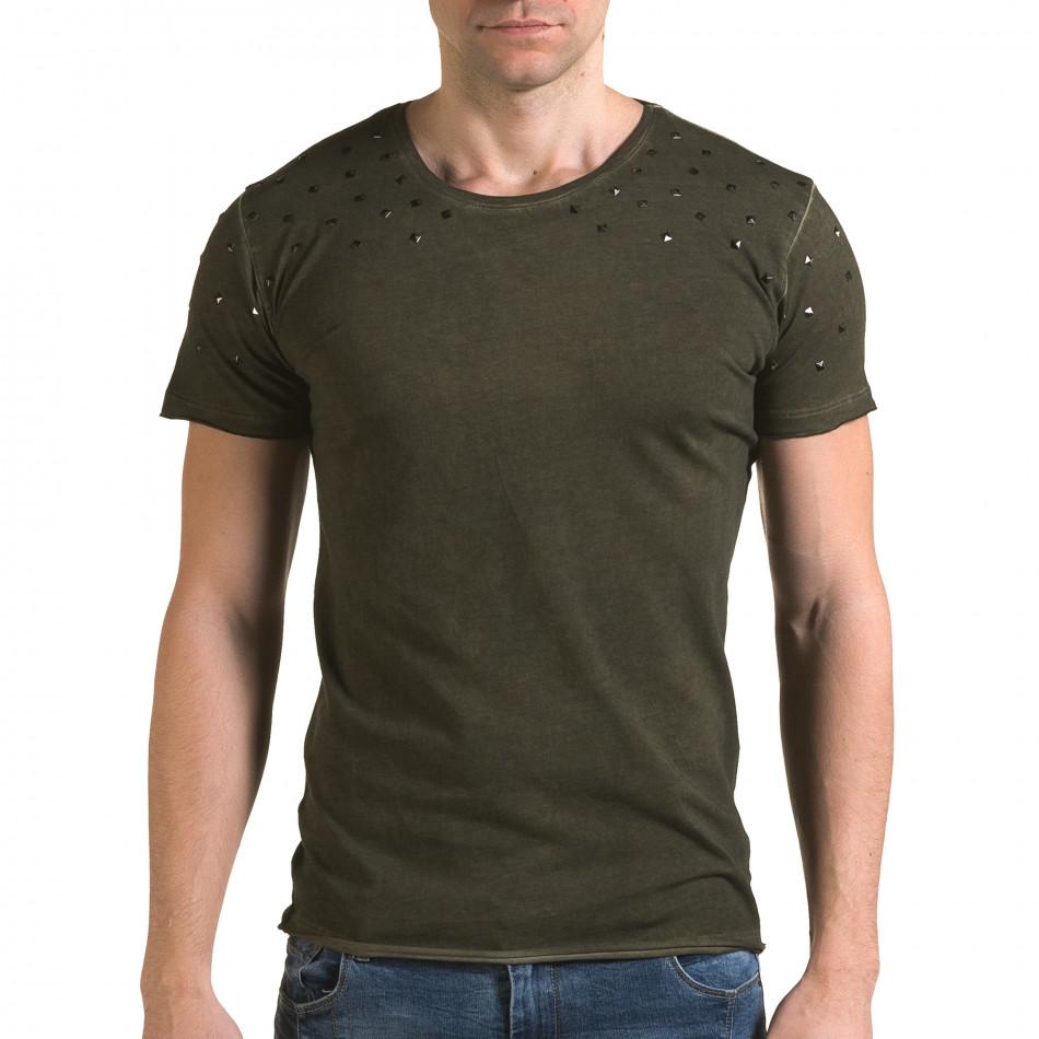 Ανδρική πράσινη κοντομάνικη μπλούζα Lagos il120216-3
