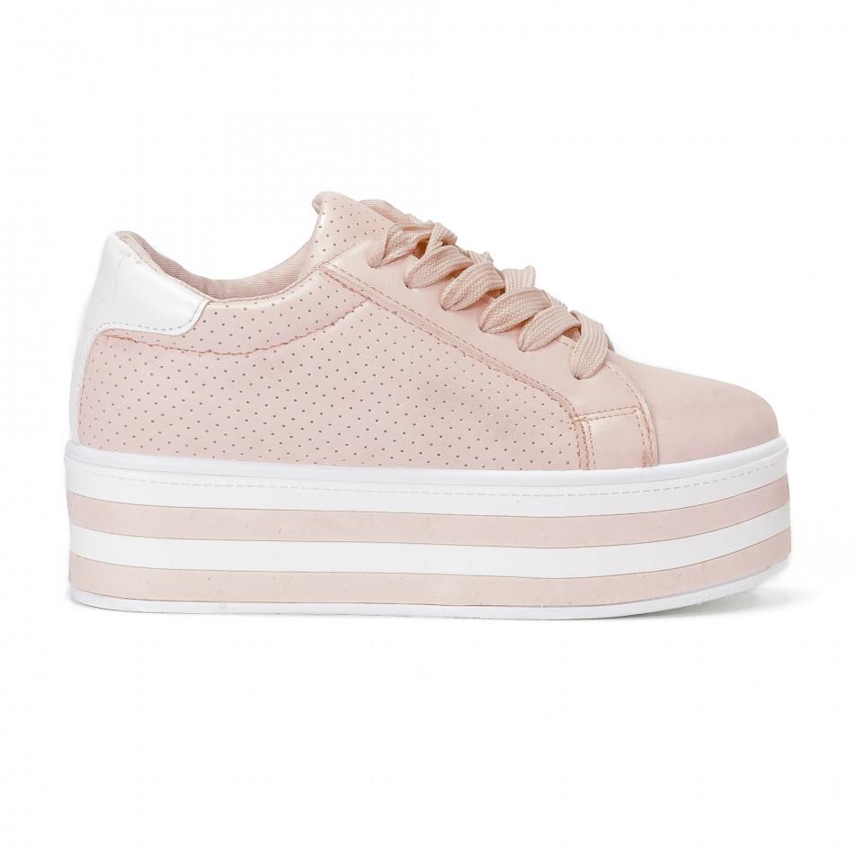 Γυναικεία ροζ sneakers με πλατφόρμα και διακοσμητικές τρύπες ... 96ad134ea38