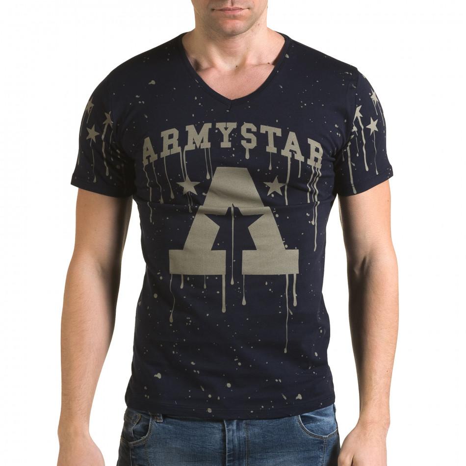 Ανδρική γαλάζια κοντομάνικη μπλούζα Lagos il120216-39