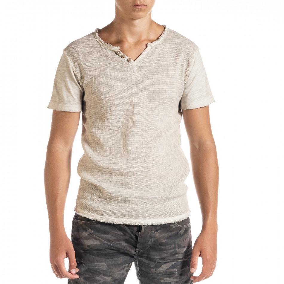 Ανδρική μπεζ κοντομάνικη μπλούζα Duca Homme it010720-28
