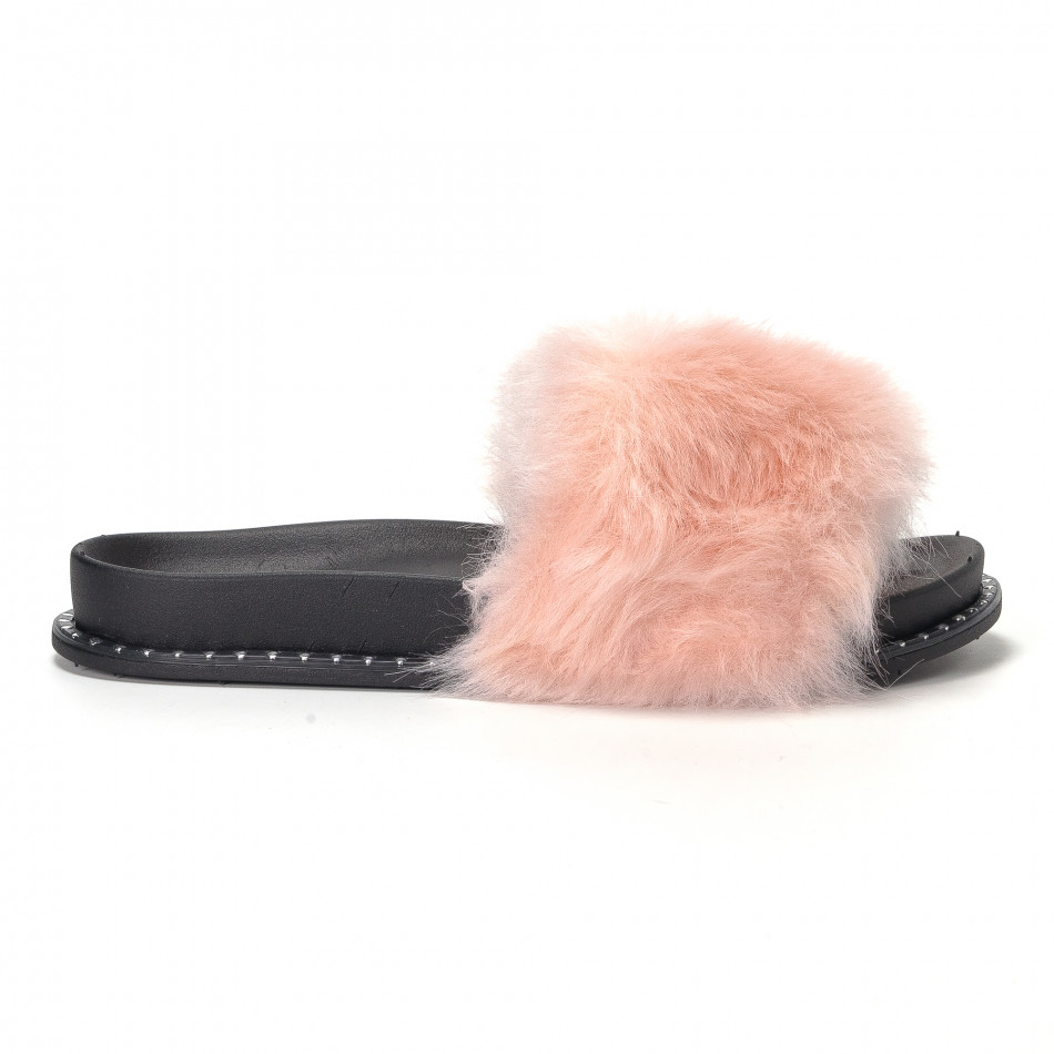Γυναικείες ροζ παντόφλες με χνούδι it230418-50