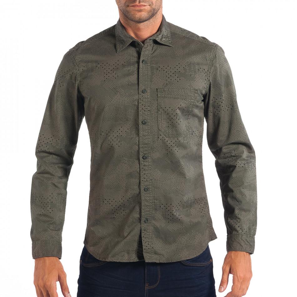 Ανδρικό πράσινο Regular πουκάμισο lp070818-112