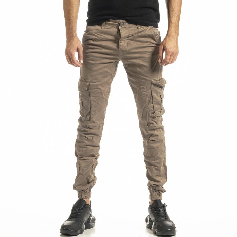 Ανδρικό μπεζ παντελόνι cargo Jogger tr180121-1