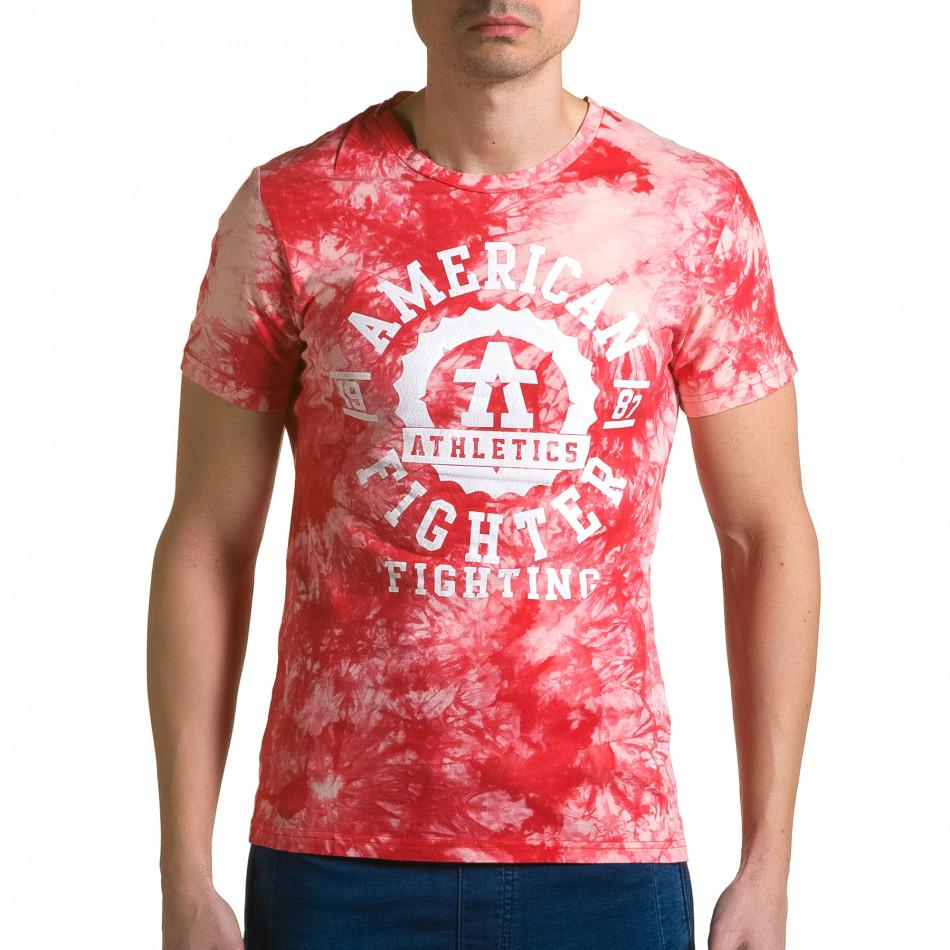 Ανδρική κόκκινη κοντομάνικη μπλούζα P2P ca190116-44