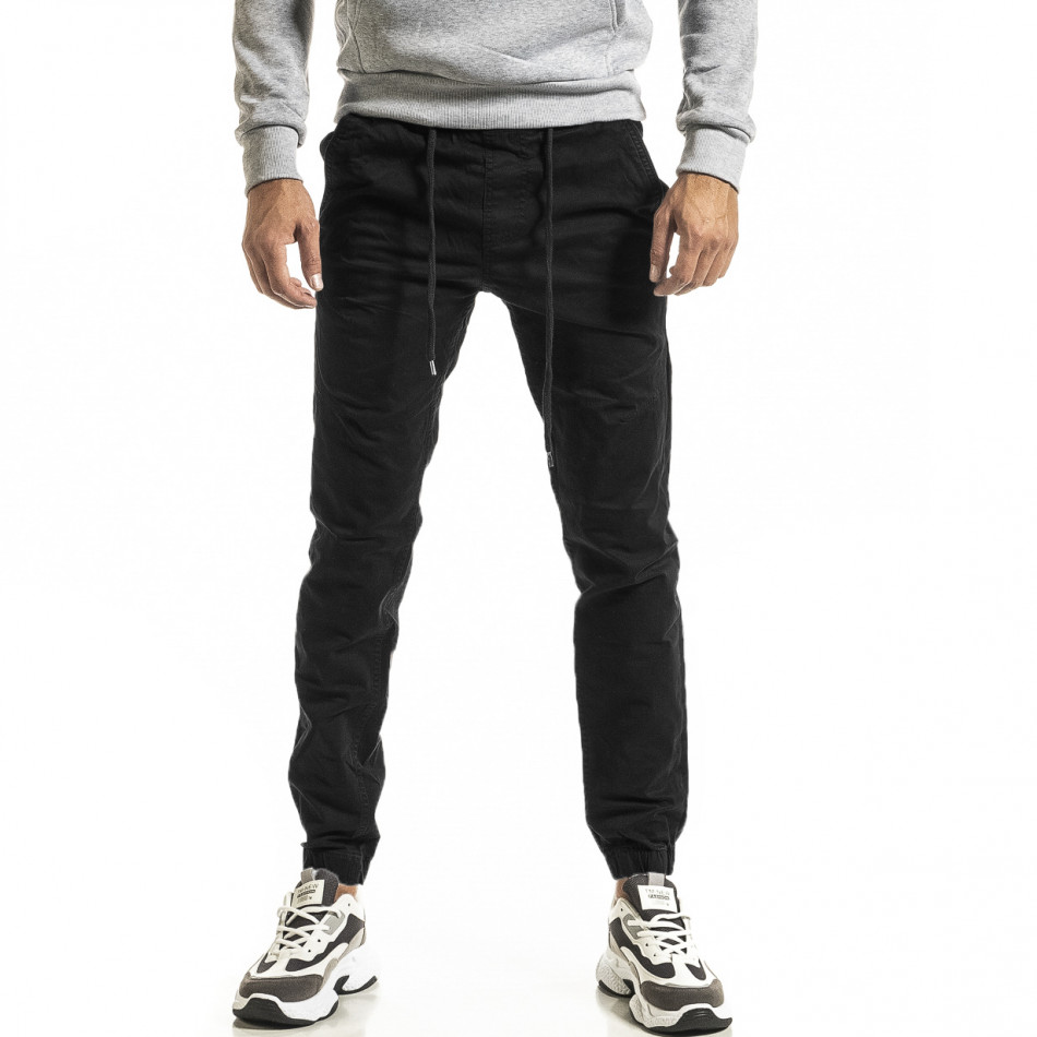 Ανδρικό μαύρο παντελόνι Jogger tr031220-1