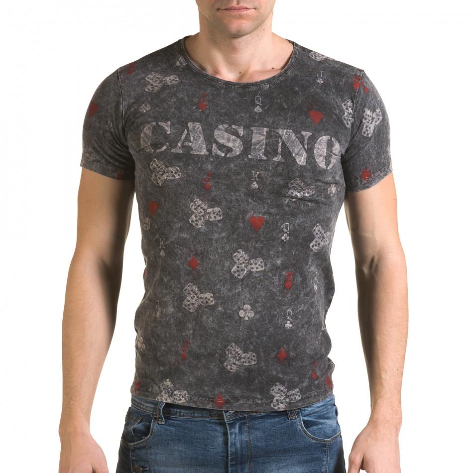 Ανδρική γκρι κοντομάνικη μπλούζα Lagos il120216-31