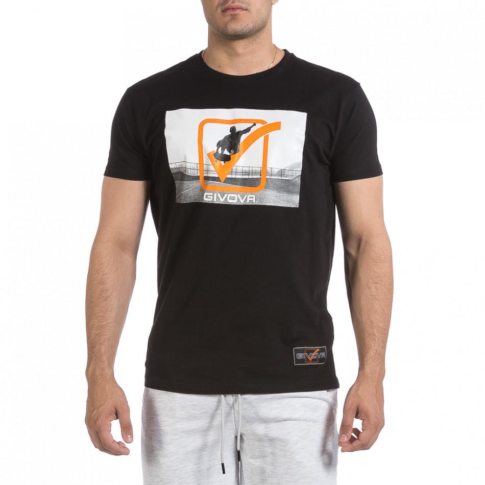 Ανδρική μαύρη κοντομάνικη μπλούζα Givova it040621-19