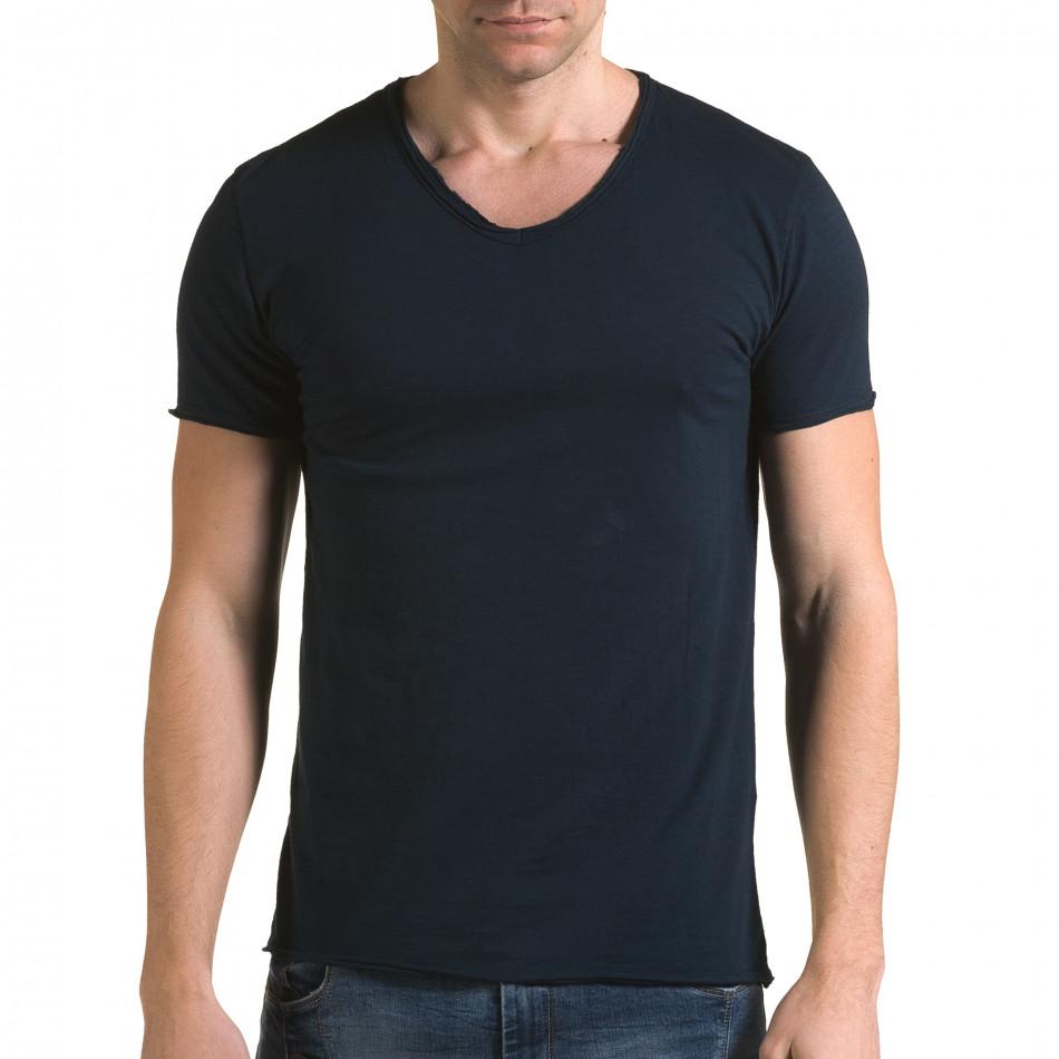 Ανδρική γαλάζια κοντομάνικη μπλούζα FM it090216-75