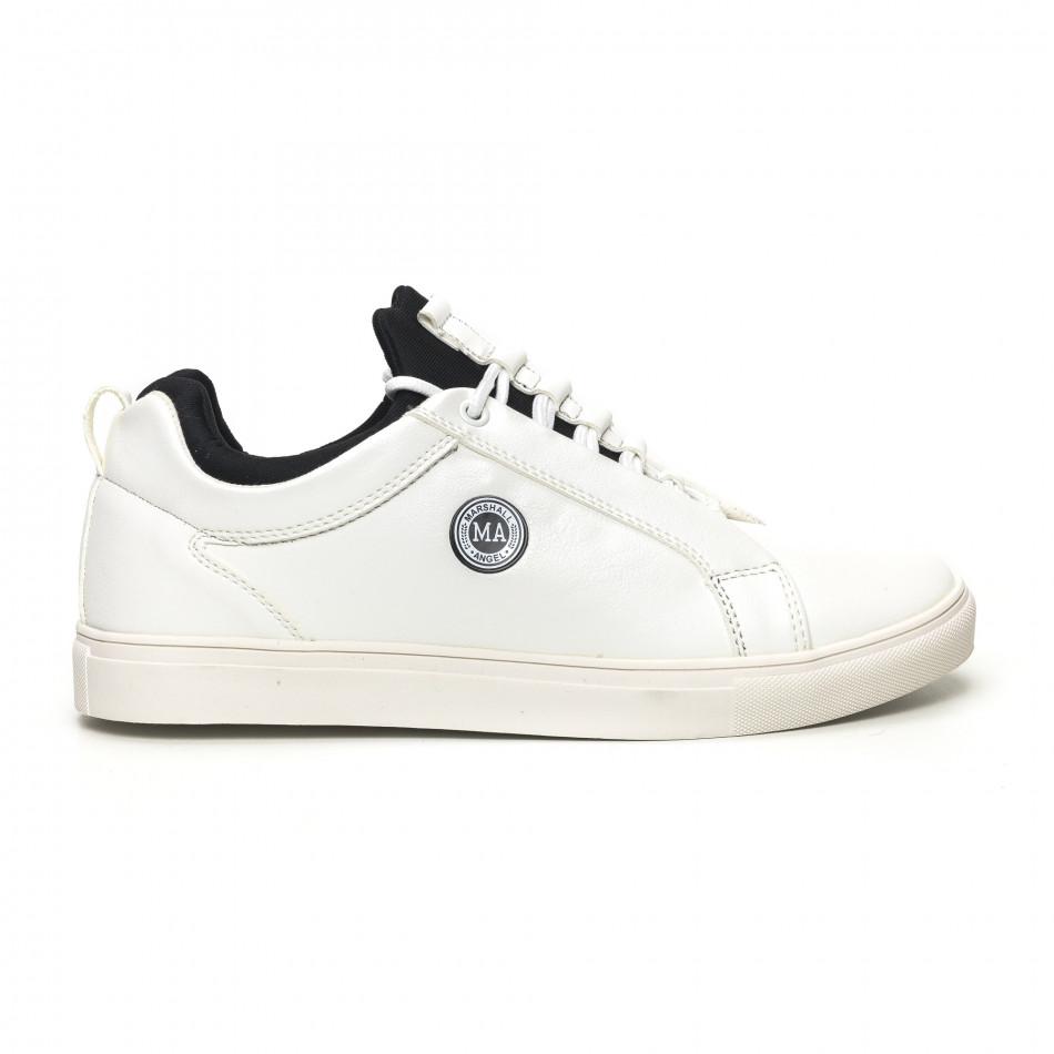 Ανδρικά λευκά sneakers με μαύρη λεπτομέρεια it051219-6