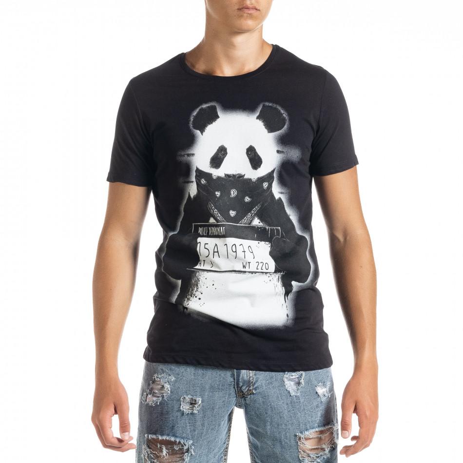 Ανδρική μαύρη κοντομάνικη μπλούζα Panda tr010720-23
