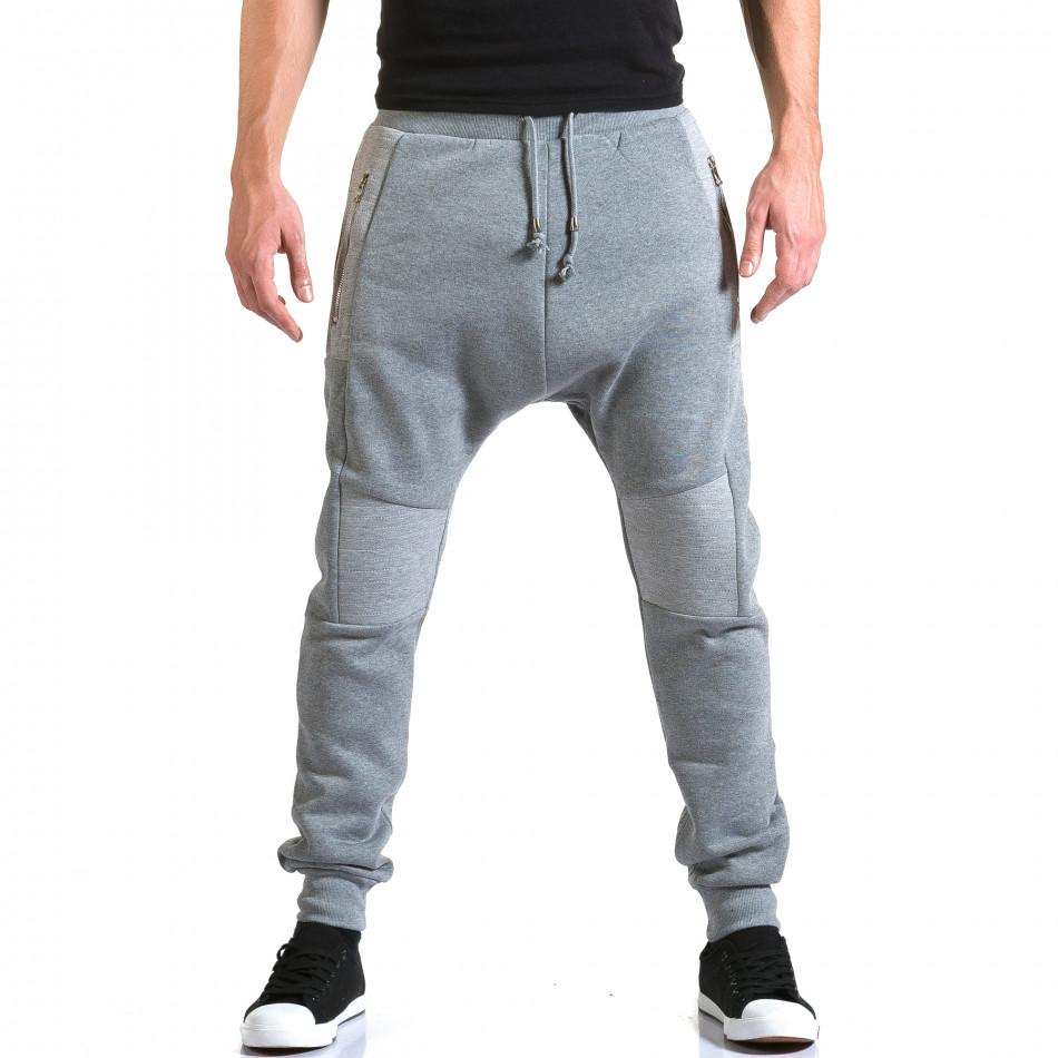 Ανδρικό γκρι παντελόνι jogger New Star it211015-56