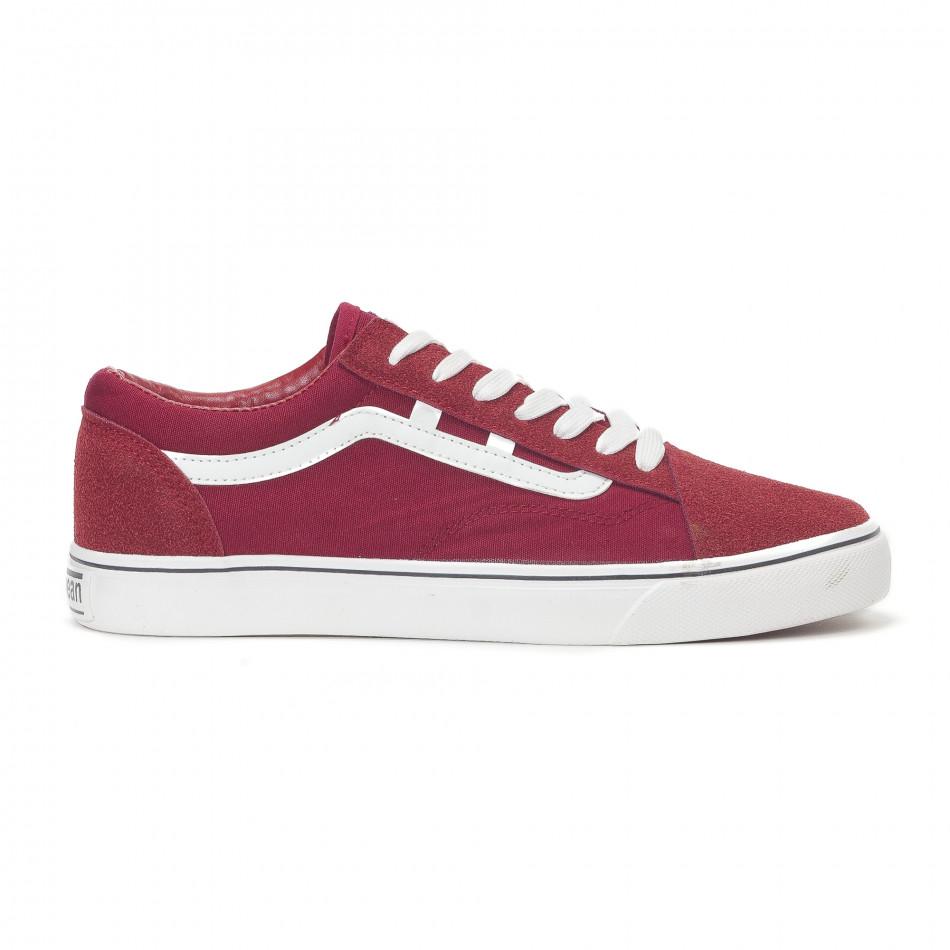Ανδρικά κόκκινα υφασμάτινα sneakers Old Skool it160318-28