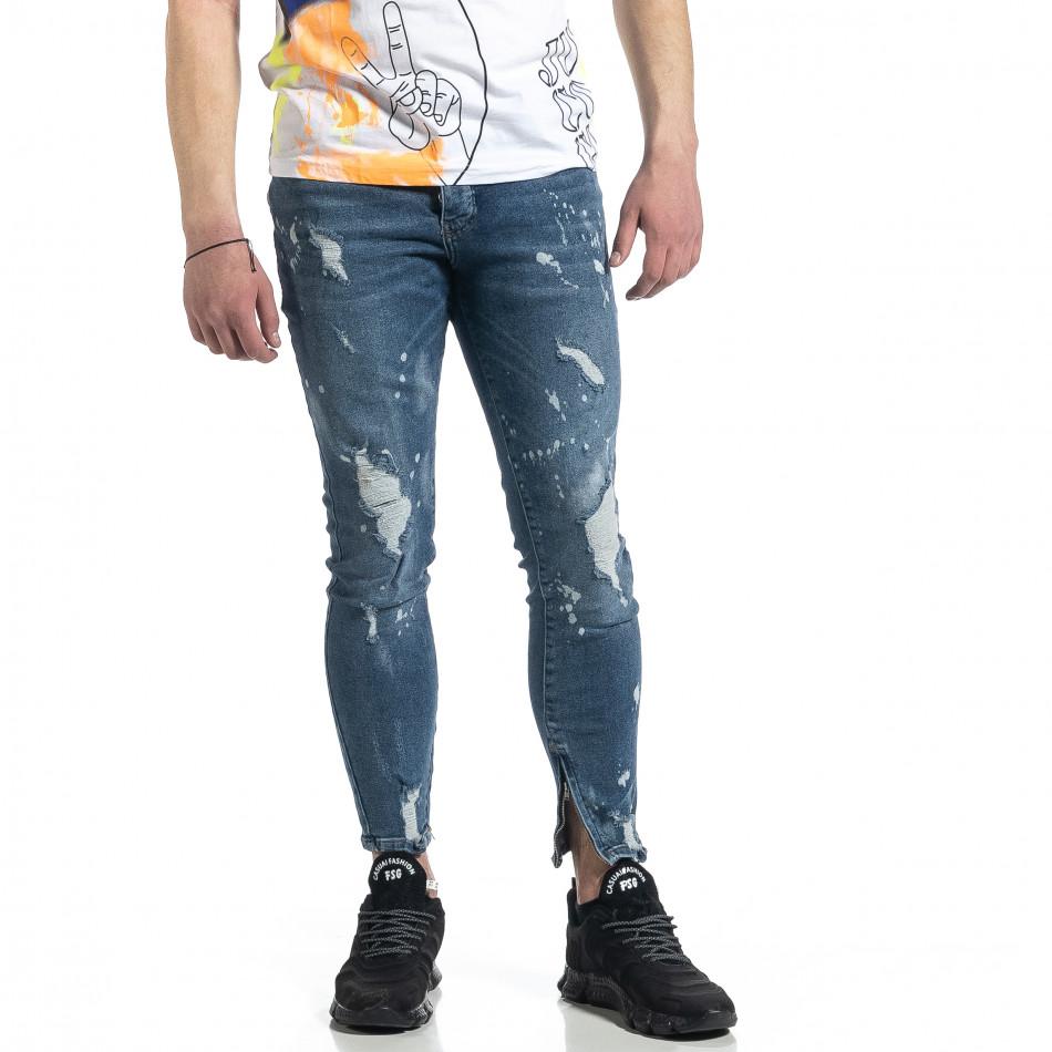 Ανδρικό μπλε τζιν με φερμουάρ στο πόδι tr270221-5