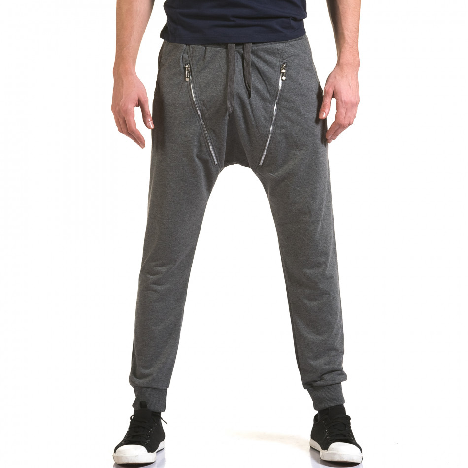 Ανδρικό γκρι παντελόνι jogger Belmode it090216-45