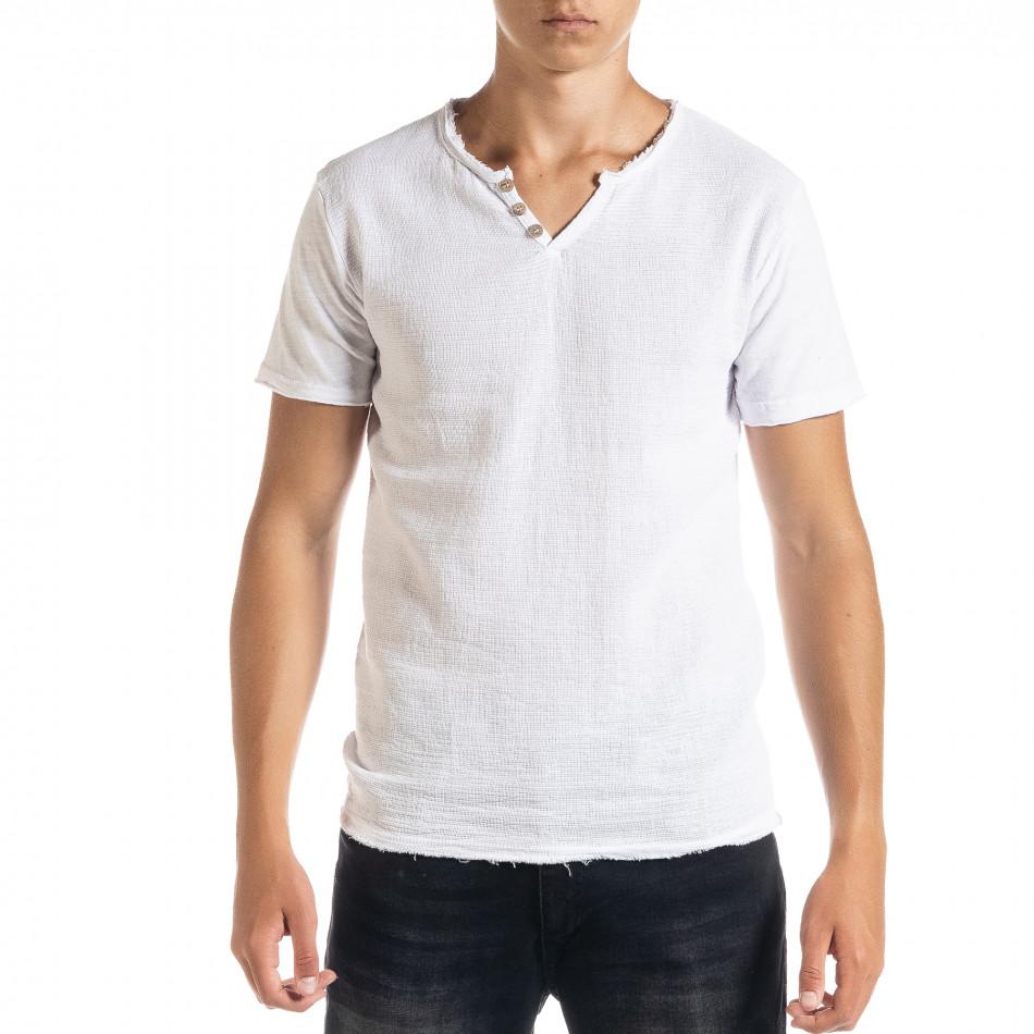 Ανδρική λευκή κοντομάνικη μπλούζα Duca Homme it010720-30