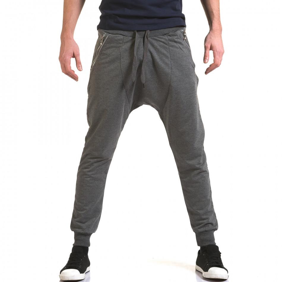 Ανδρικό γκρι παντελόνι jogger Belmode it090216-41