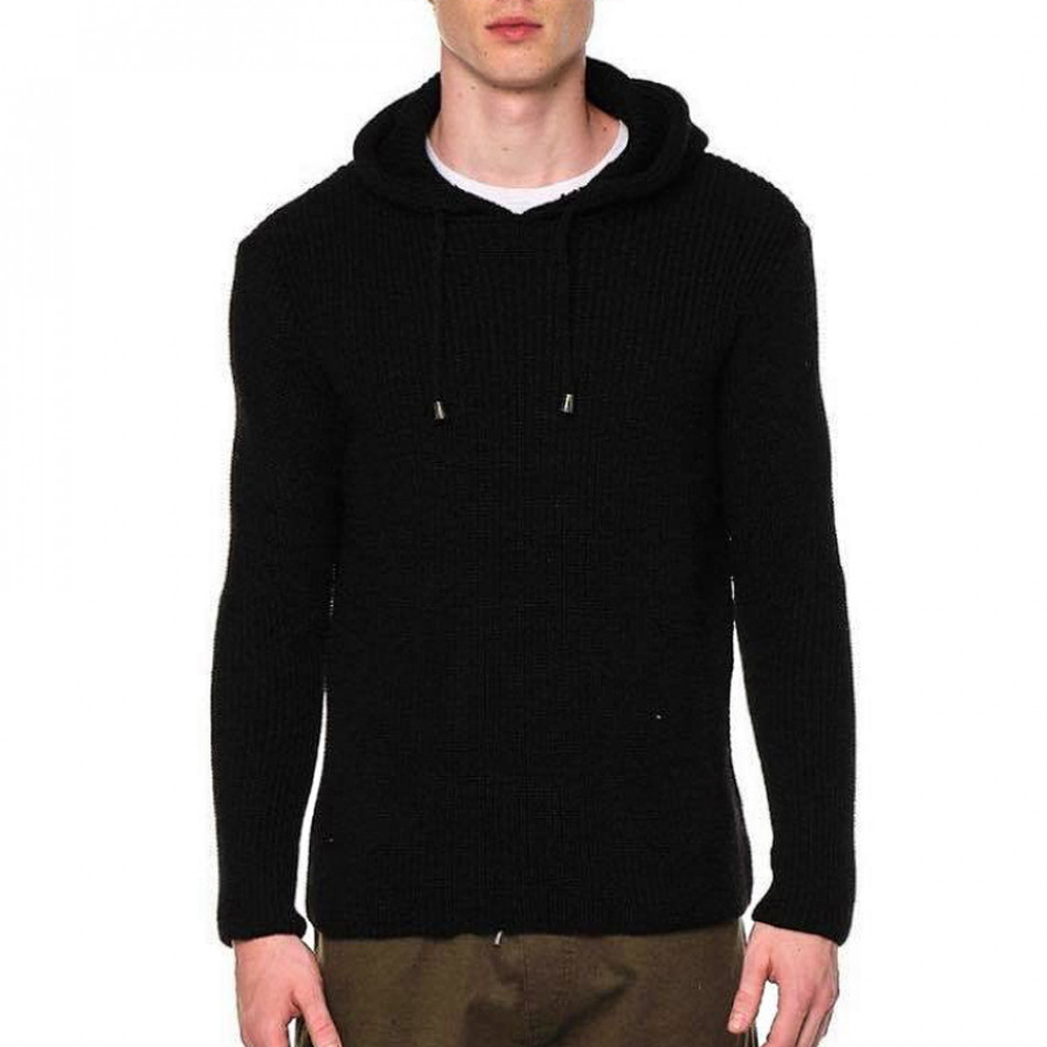 Ανδρικό μαύρο πουλόβερ με κουκούλα tr240921-8