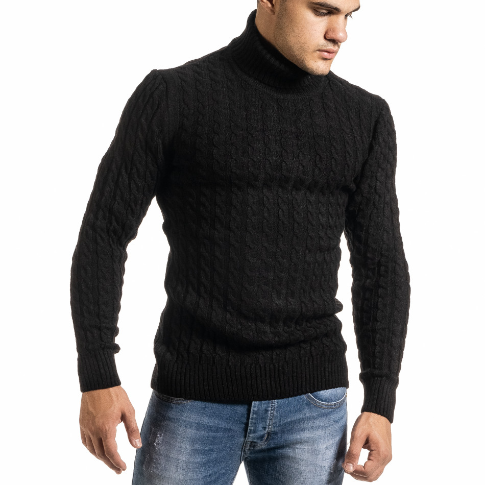 Ανδρικό μαύρο πουλόβερ Lagos it301020-23