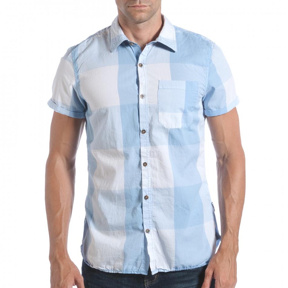 Ανδρικό γαλάζιο κοντομάνικο πουκάμισο CROPP lp280817-2