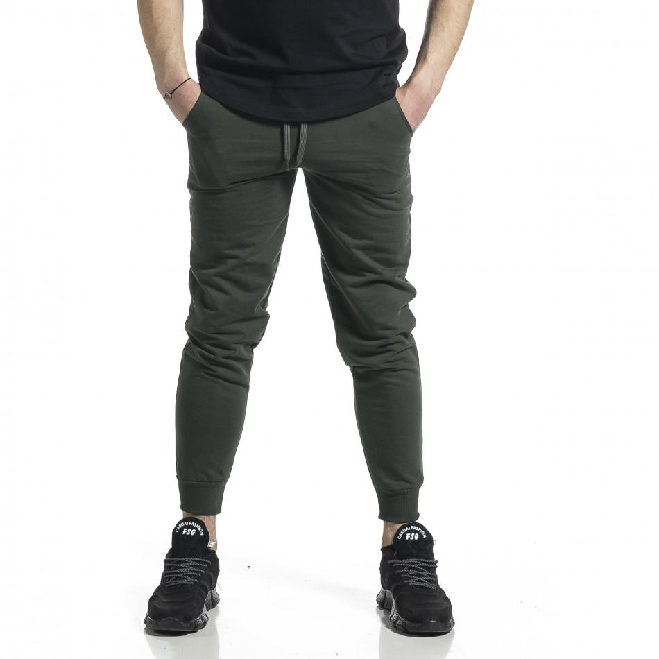 Ανδρική πράσινη φόρμα βαμβάκι Basic it270221-20