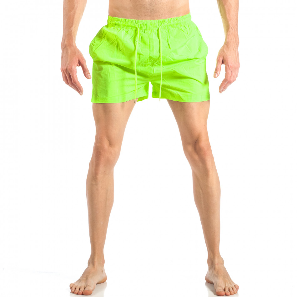 Ανδρικό πράσινο φωσφοριζέ μαγιό με ρίγες σε τρία χρώματα it040518-94