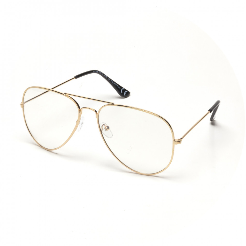 c8e1cd6338 Ανδρικά διαφανές γυαλιά ηλίου πιλότου με χρυσαφί σκελετό it250418-7 ...