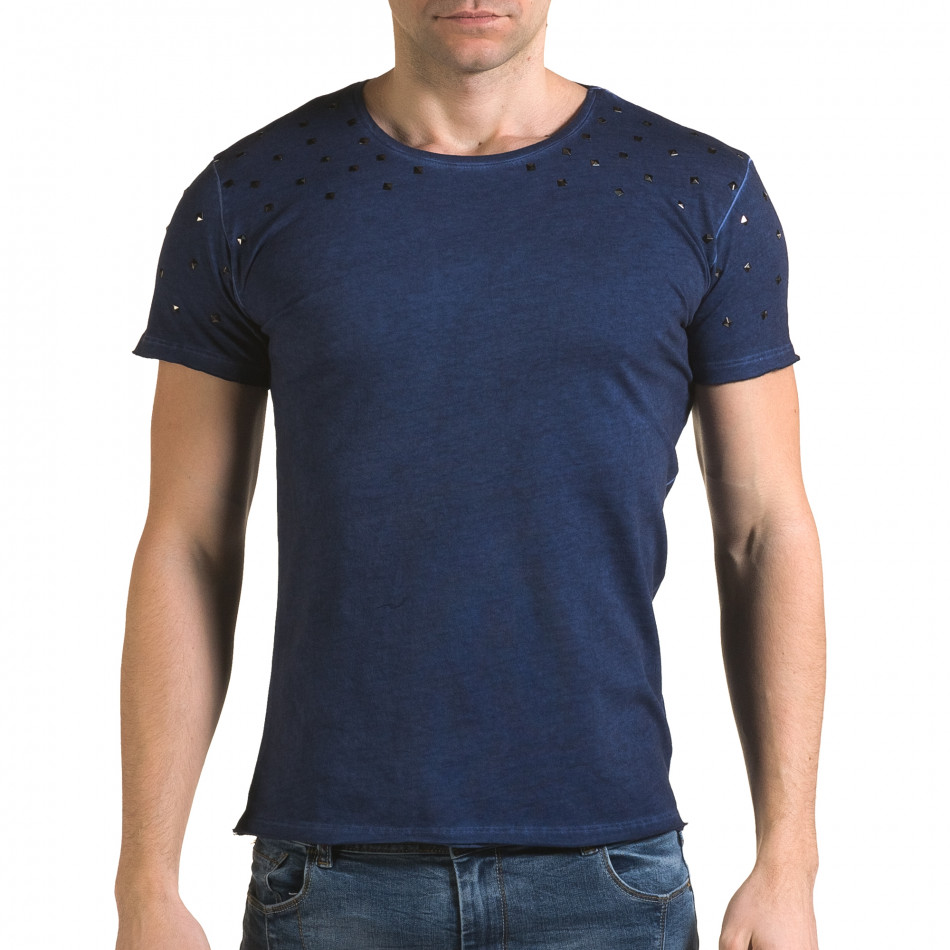 Ανδρική γαλάζια κοντομάνικη μπλούζα Lagos il120216-4