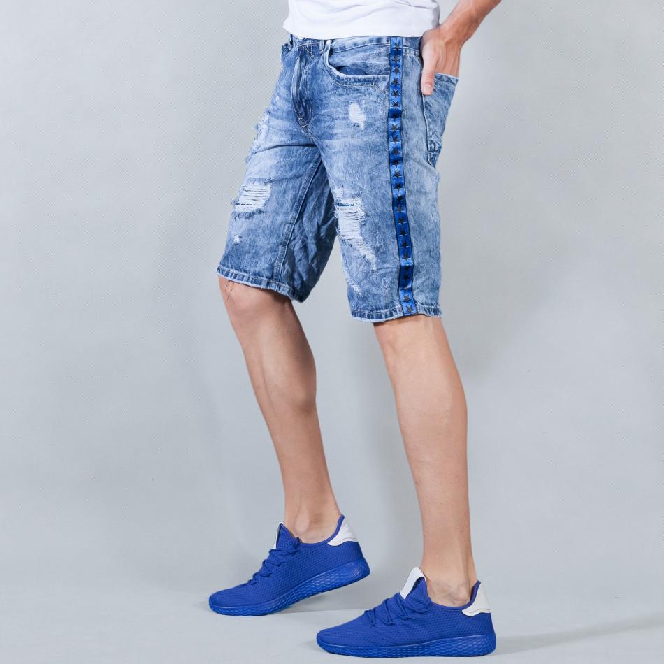 Ανδρική γαλάζια τζιν βερμούδα με σκισίματα  it050618-22