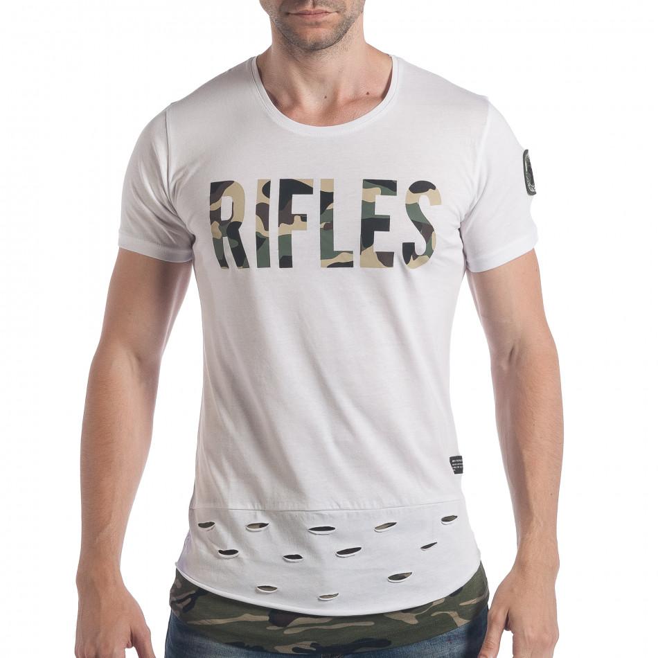 Ανδρική λευκή κοντομάνικη μπλούζα Breezy tsf140617-2