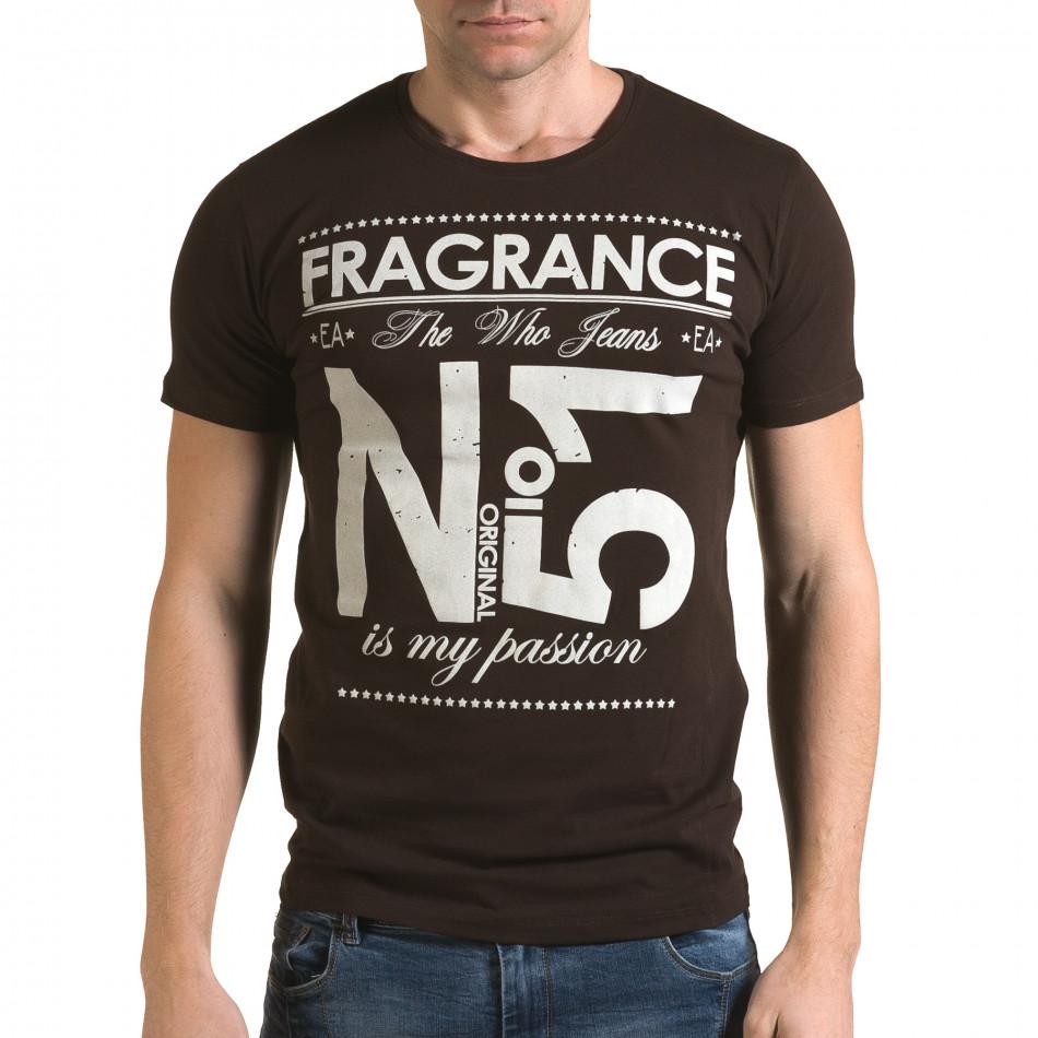 Ανδρική καφέ κοντομάνικη μπλούζα Lagos il120216-29