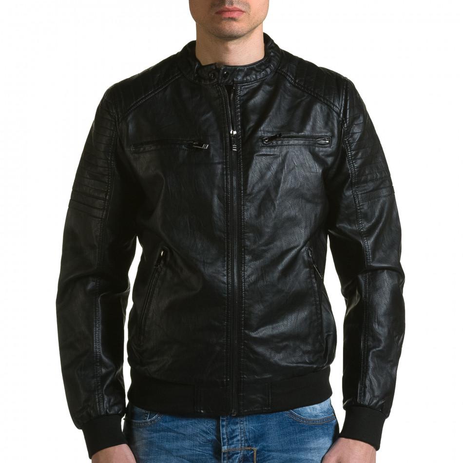Ανδρικό μαύρο μπουφαν δερματινη Forex ca190116-36