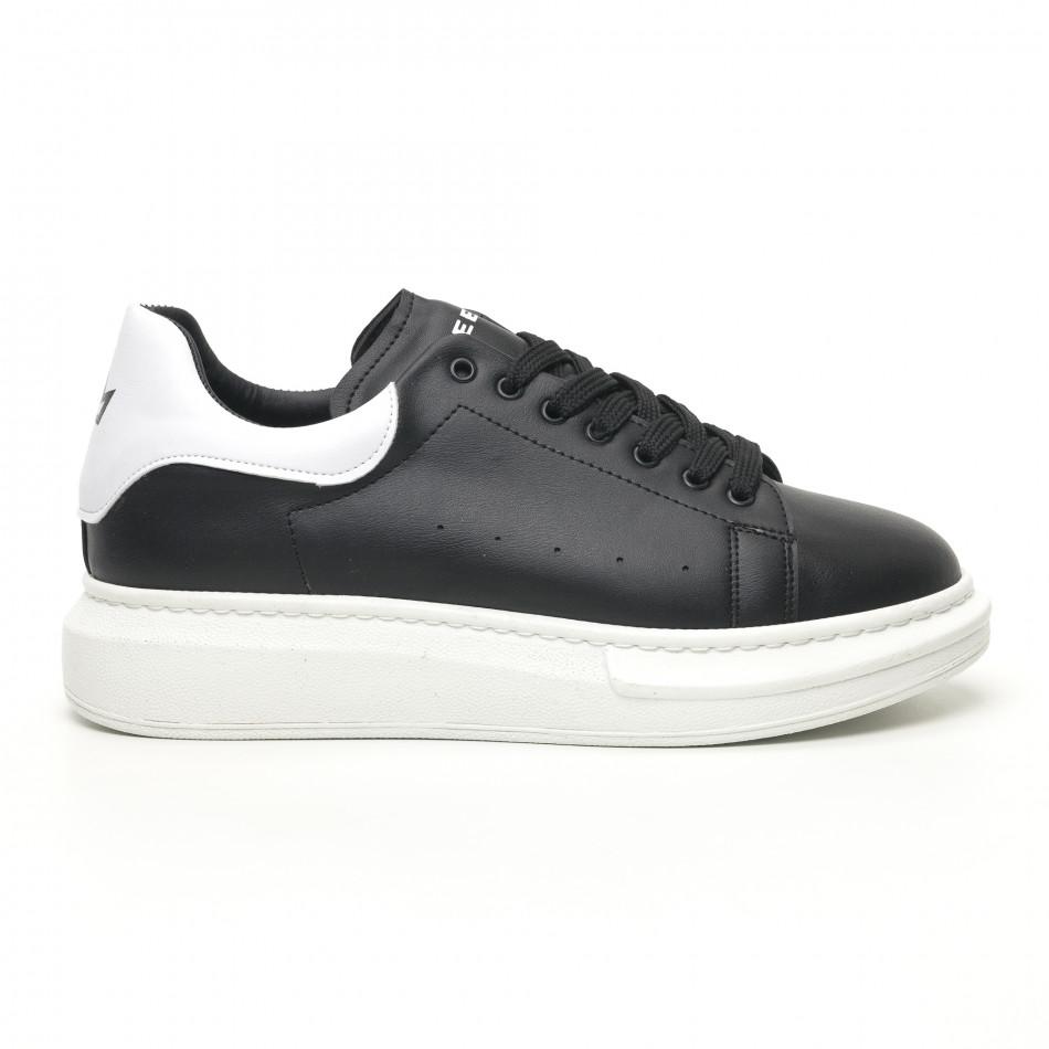 Ανδρικά μαύρα sneakers με χοντρή σόλα tr180320-34